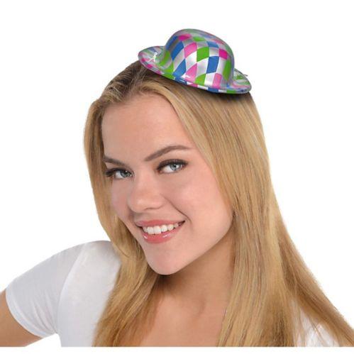 Mini-chapeau melon en damier argenté