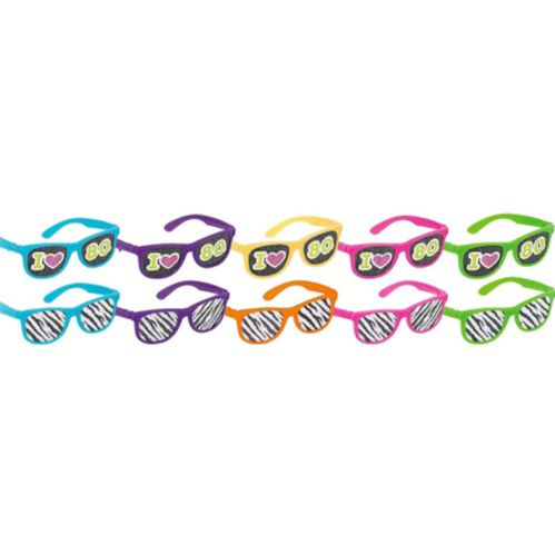 Totally 80s Printed Glasses, 10-pk