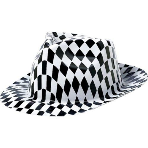 Flame Fedora Hat 50s, Black/White