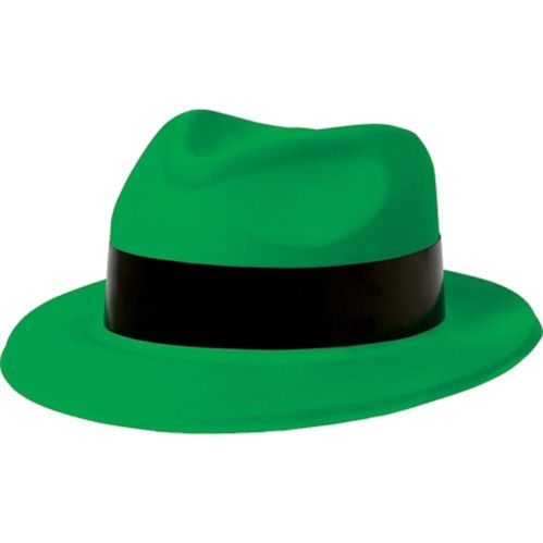 Flame Fedora Hat 80s, Neon Green