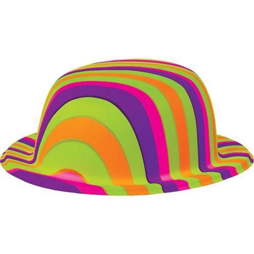 Chapeau melon à rayures multicolores des années 60