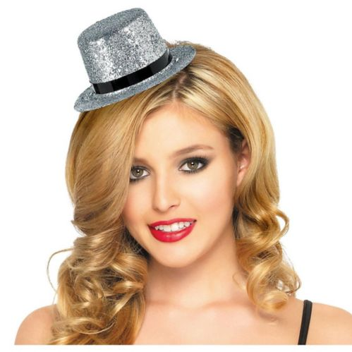 Mini Glitter Top Hat, Silver Product image