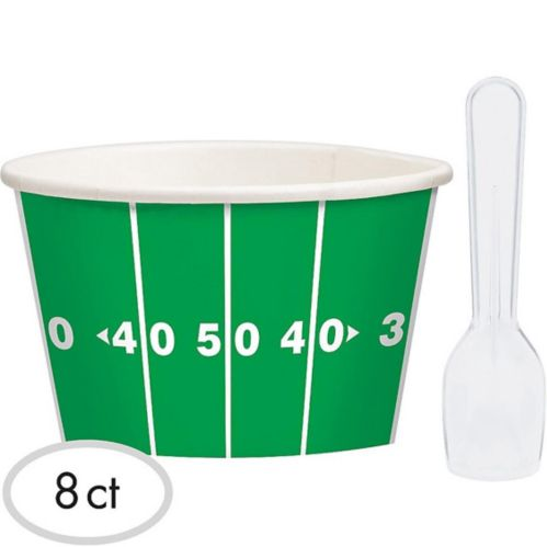 Football Ice Cream Cups with Spoons, 8-pk