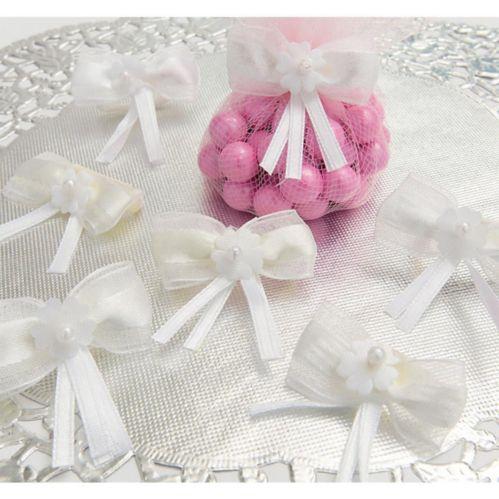 Attaches de cadeaux de mariage, boucle blanche, paq. 12