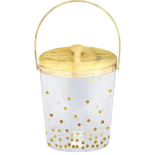 Metallic Gold Polka Dot Ice Bucket with Tongs