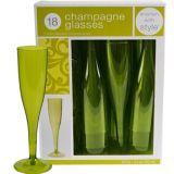 Avocado Premium Plastic Champagne Flutes, 18-pk
