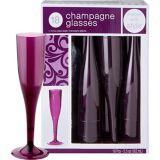 Flûtes à champagne en plastique de qualité supérieure, prune, paq. 18