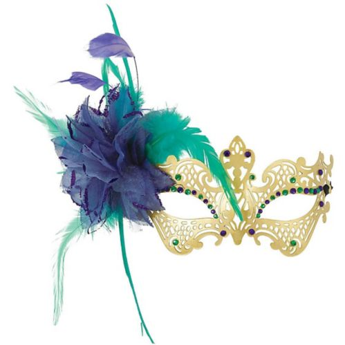 Filigree Feather Masquerade Mask, Gold/Green/Purple