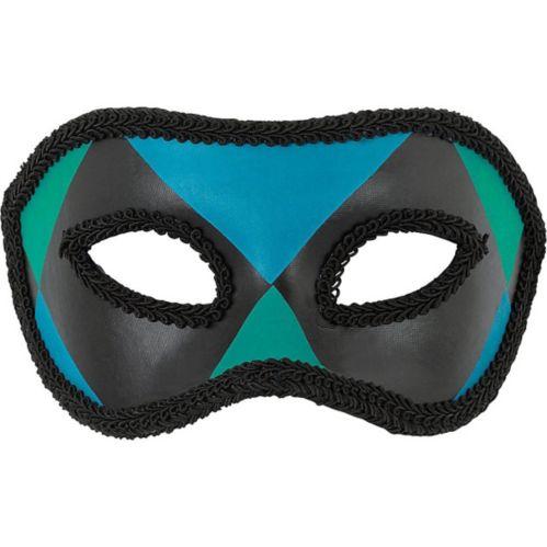 Harlequin Masquerade Mask, Blue/Green