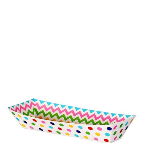 Small Polka Dot Chevron Rectangular Paper Food Trays, 16-pk Product image