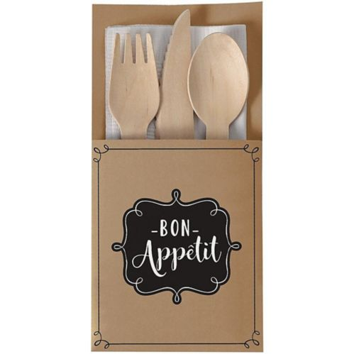 Porte-couverts en papier Kraft Let's Eat, paq. 16