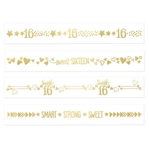 Metallic Gold Sweet 16 Tattoos, 2-Sheets