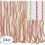 Orange, Green, Red Bead Necklaces, 24-pk