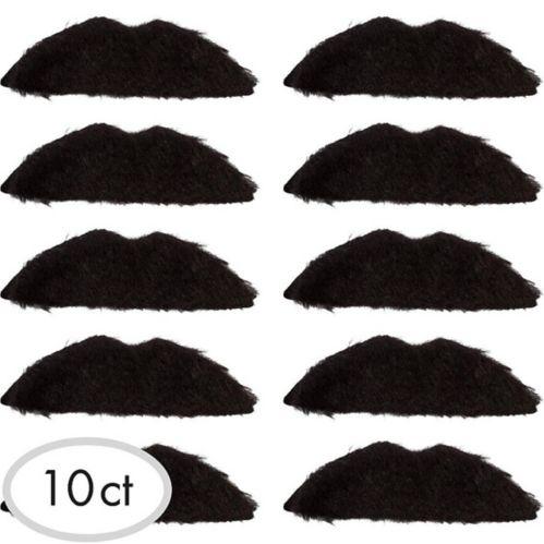 Black 70s Moustaches, 10-pk