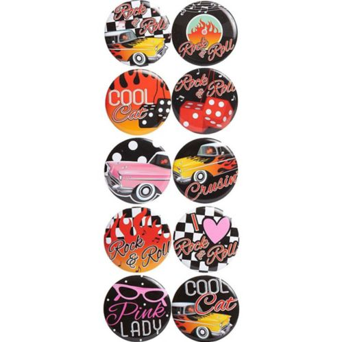 Classic 50s Buttons, 10-pk