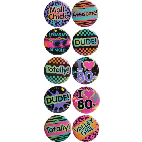 Totally 80s Buttons, 10-pk