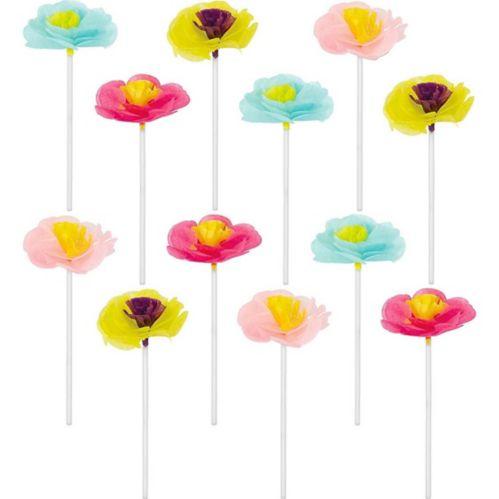 Décorations florales colorées à petits gâteaux sur cure-dents, paq. de 12