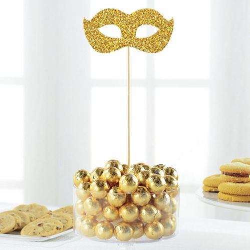 Glitter Gold Masquerade Mask Picks, 2-pk Product image