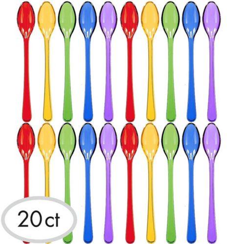 Mini Rainbow Plastic Spoons, 20-pk
