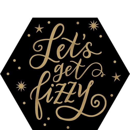 Sous-verres hexagonaux noirs et dorés Let's Get Fizzy, paquet de 18