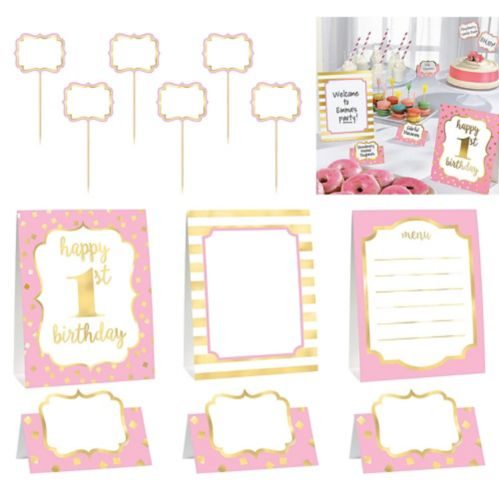 Metallic Pink  Gold 1st Birthday Buffet Decorating Kit, 12-pc