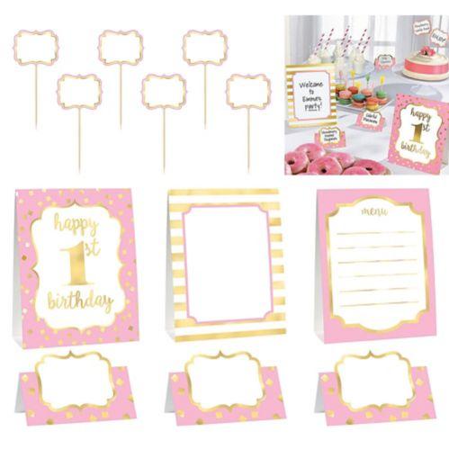 Metallic Pink  Gold 1st Birthday Buffet Decorating Kit, 12-pc Product image
