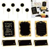 Trousse de décoration de buffet d'anniversaire or métallique, 12 pièces
