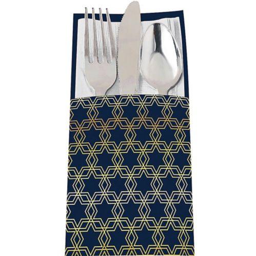 Metallic Hanukkah Celebration Cutlery Holders, 12-pk Product image