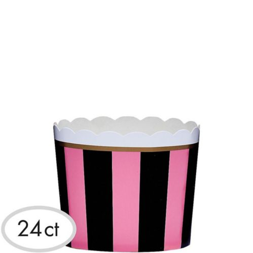 Pink and Black Scalloped Bowls, 24-pk
