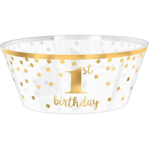 Metallic Gold Confetti 1st Birthday Plastic Serving Bowl