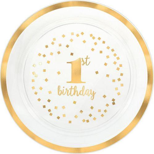 Plateau de service1st Birthday avec confettis or métallique