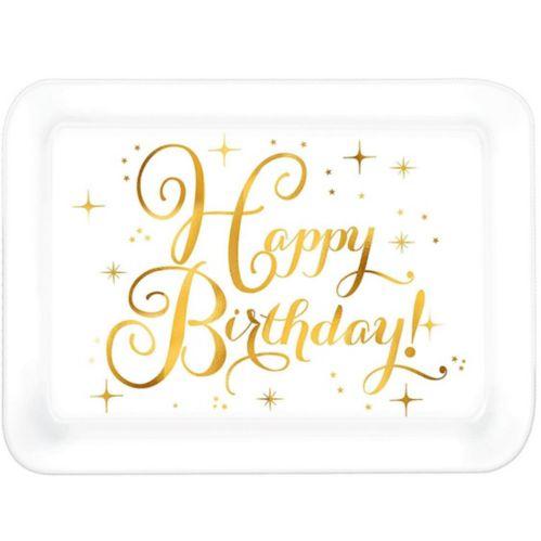 Metallic Gold Birthday Plastic Rectangular Platter