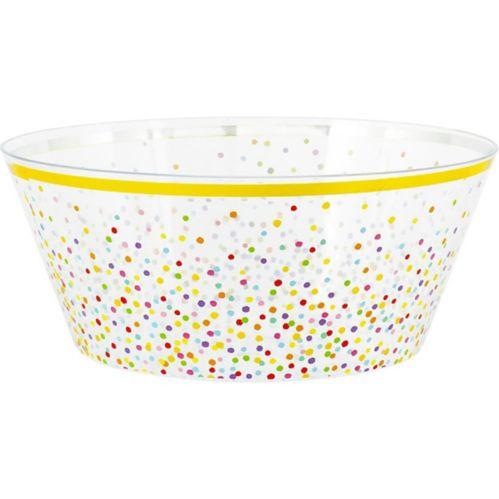 Rainbow Confetti Plastic Serving Bowl