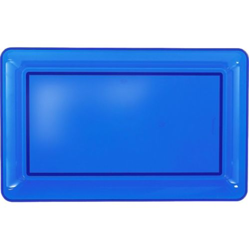 Plateau rectangulaire en plastique bleu royal Image de l'article