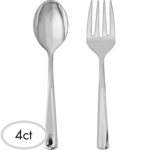 Plastic Serving Forks & Spoons, 4-pc Product image
