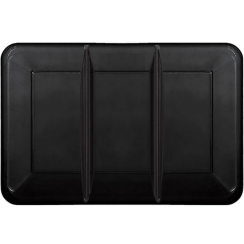 Plastic Rectangular Sectional Platter, Black Product image