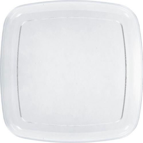 Plateau carré en plastique transparent