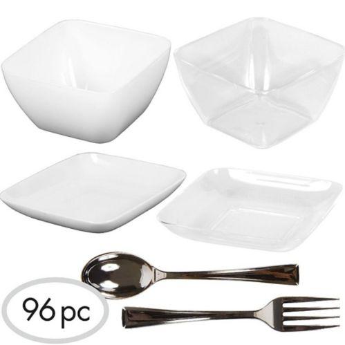Mini-contenants et ustensiles en plastique pour amuse-gueules, 96 pièces