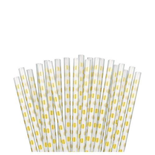 Pailles réutilisables à pois or métallique, paq. de 12 Image de l'article