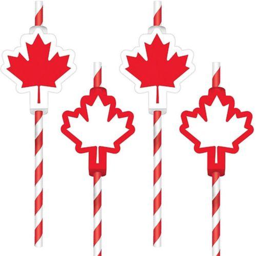 Canadian Maple Leaf Paper Straws, 12-pk
