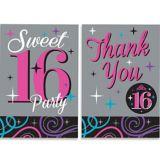 Invitations et cartes de remerciement Célébrations Sweet 16, paq. 20