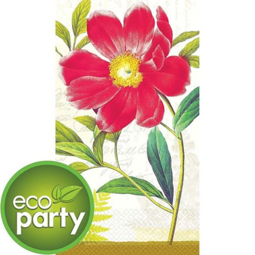 Eco-Friendly Botanical Peony Guest Towels, 16-pk
