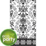 Essuie-mains d'invité écologiques en damas fleuri, noir et argenté, paq. 16