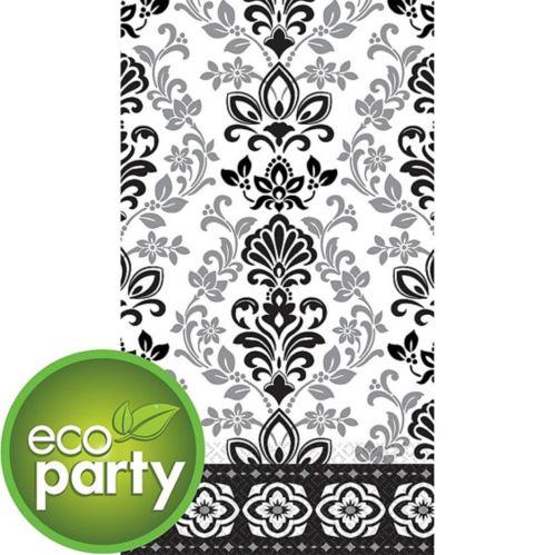 Essuie-mains d'invité écologiques en damas fleuri, noir et argenté, paq. 16 Image de l'article