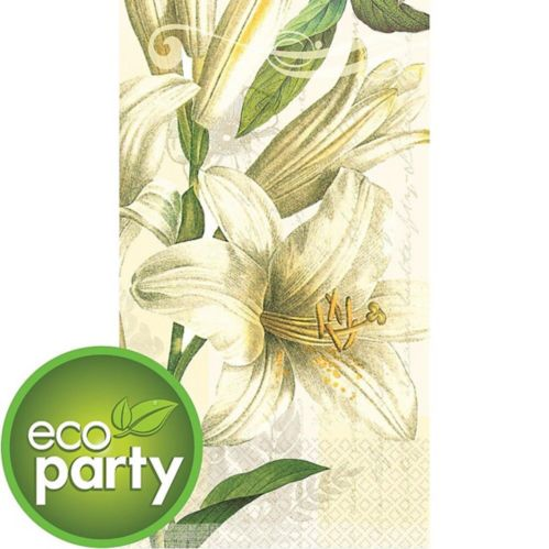White Lilies Eco Guest Towels, 16-pk
