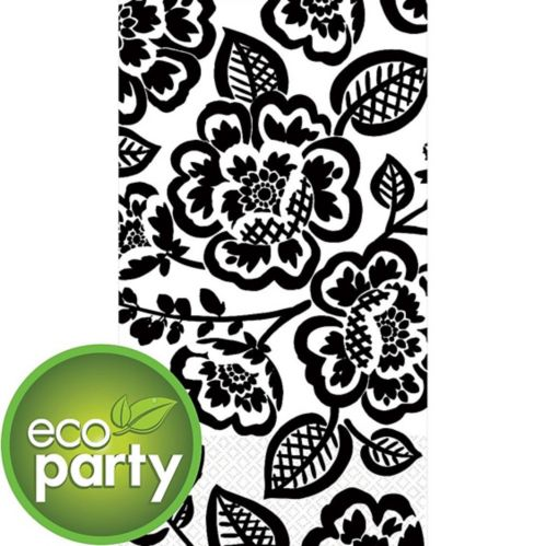 Black Floral Print Eco Guest Towels, 16-pk