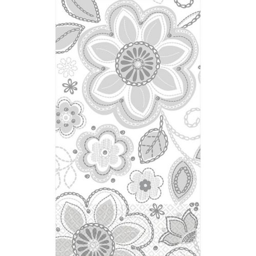 Silver Flower Embroidery Guest Towels, 16-pk