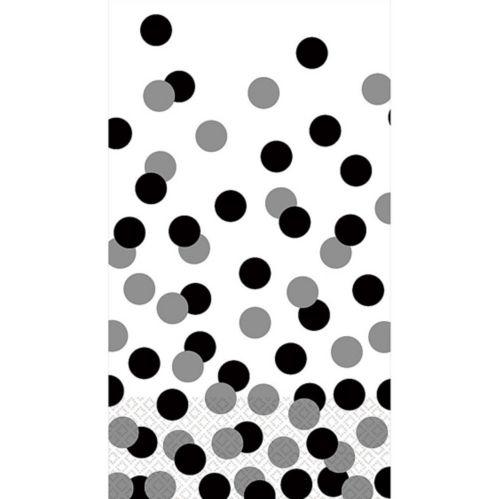 Essuie-mains d'invité à pois, noir et blanc, paq. 16