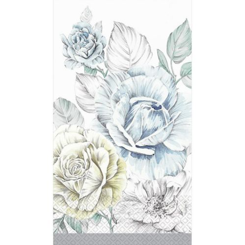 Silver Bouquet Guest Towels, 16-pk
