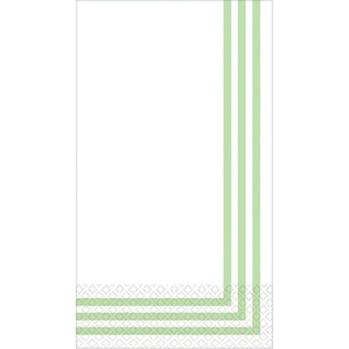 Essuie-main d'invité haut de gamme à rayures classiques, vert printanier, paq. 16